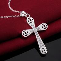 Wholesale Cross Necklace Pure 925 - Cross Styles necklaces Cool Romantic 925 Pure silver N569 gift women men Fashion New Jewelry Brincos de Prata