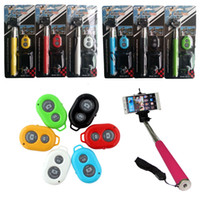 Wholesale Iphone 3in1 Packaging - Bluetooth Extendable Handheld Selfie Stick Monopod + Clip Holder + Remote Shutter 3in1 set Combo for iPhone Samsung HTC w  Retail Package
