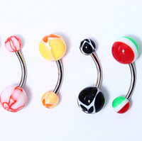 Wholesale Cheap Belly Rings Free Shipping - 10pcs lot free shipping 14g Acrylic Ball STEEL Shaft Barbells belly ring Jewelry cheap wholesale
