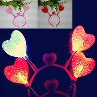 Red Love Heart Light Up Fascia Flash lampeggiante LED Party Supply Fun Rave Led Accessori per capelli Toy