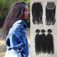 Wholesale Brazilian Knot Hair Extension - Brazilian Virgin Kinky Curly Hair Weave 4 Bundles with 1pc 44 Swiss Lace Closure Bleached Knots Unprocessed Human Hair Extensions 50g pc