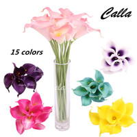 Wholesale Lighted Calla Lily - Free Shipping real touch Artificial Flower Romantic Wedding Calla Lily Artificial Flower For home Decorition