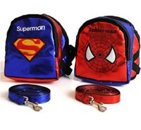 Vendita CALDA Superman Cartoon Pet Dog Zaino Super Hero Dog Harness Bag Sella Outdoor Food Carrier + Guinzaglio