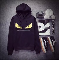 Wholesale Eyes Fashion Sweater - 2016 European and American hip-hop trend of men's personality spoof little monster eyes zipper cotton men's long-sleeved sweater