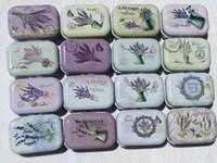 Wholesale Metal Flower Boxes - 32pcs lot Collectables Tin Boxes Small Tin Box Wholesale Metal Storage tins Candy Box Lavender Flower Plant Pattern