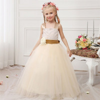 Новые шампанские ремни Bodice Puffy Tulle Skirt TUTU Junior Bridesmaid Girls Dress School Party Dress for Wedding или Pageant CPX229