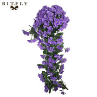 Wholesale Red Orchid Plants - High Density In Kind Shooting Violet Orchid Ivy Artificial Flower Hanging Plant Silk Garland Vine For Wedding Home Decoration