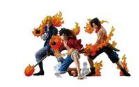ace luffy figur gesetzt großhandel-3 teile / satz One Piece Attack Styling Luffy + Sabo + Ace PVC Action-figuren Sammeln Modell Spielzeug freies verschiffen