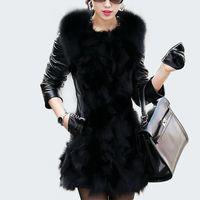 Wholesale leather jacket women online - New Winter Warm Faux Fur Coat Women Black Leather Long Sleeve Patchwork Jacket Slim Outerwear Coats Overcoat Parkas XL Q0342