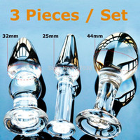 Wholesale Cheap Anal Toys For Men - w1022 Cheap 3 pcs Set Pyrex Glass Anal Butt Plugs Beads Crystal Dildo Adult Sex toys female male masturbation products for women men