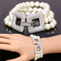 Wholesale White Multi Pearl Bracelet - U7 Romantic Pearl Bracelet Platinum Plated Pearl Clear Rhinestone Trendy Jewelry Multi Layer Bracelet For Women Perfect Gift