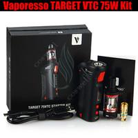 vaporesso target 75w vtc mod kit großhandel-Top Vaporesso ZIEL VTC 75W Mod Starter Kit Temperaturregelung Vape Stift Keramik CELL Spule RDA 18650 Batterie und Zigaretten Vapor Mods DHL