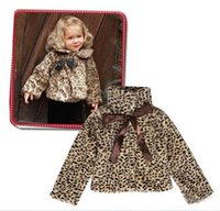 Wholesale Baby Leopard Coat Outwear - Retail kids girls jacket outwear winter 2015 brand new fashion 12M-5T children warm coats leopard printed baby girl clothing 201509HX