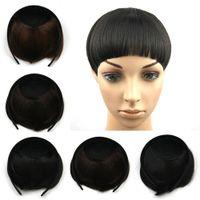 Wholesale Bang Hoop - Heat Resistant Straight Synthetic Hair Bangs Wholesale-Woman Fashion Hoop Neat Bangs Hair Fringe Pieces Hairpieces Hair Extension