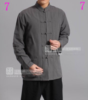 Wholesale China Male Costume - China T'ang costume Cotton shadowboxing male   kung fu sports shirt #1-5