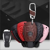 Wholesale Mercedes Key Case - For Mercedes-Benz Hand-stitched leather key case intelligent remote control package special car