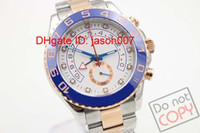 Wholesale Date Crystal - Luxury Men's Sapphire Crystal 116688 Blue Ceramic Bezel Rose Golden Perpetual Automatic Movement 2 Tone Watch Sport Wristwatch Mens Watches