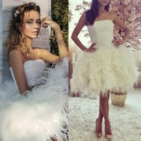 Wholesale Nude Knee Length Dresses - 2016 Spring SHort Feather Evening Dresses Strapless Knee Length White Sexy Party Gowns Junior Homecoming Dresses