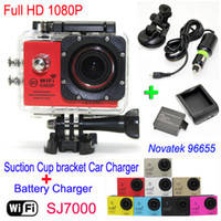 SJ7000 Waterproof WiFi Action Camera + Chargeur de batterie + support + Chargeur de voiture 1080P Full HD Sports Camera Diving Video Casque Caméscope Car DVR