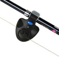ingrosso asta di pesca leggera-Allarme per morso di pesca Luce da esterno a LED Clip Canna da pesca Allarme elettronico per morso Pesce suoneria Batteria Accessori per campana da pesca