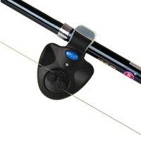 bi ışıklar toptan satış-Balıkçılık Bite Alarm Açık LED Klip Işık Olta Elektronik Bite Alarm Balık Zil Pil Balıkçılık Çan Aksesuarları
