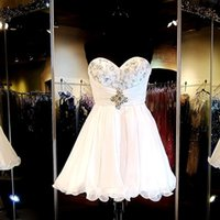 Simple White Short Prom Dresses 2016 Vestito da Homecoming Splendido Perline Sweetheart Impero Mini Abito di sfera Abito di cristallo oro Pageant