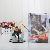 tek parça aksiyon figürleri zoro toptan satış-Sıcak satış Japonya Anime One Piece POP Roronoa Zoro 17 CM Banpresto Action Figure Colossum Kutuda Yeni