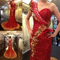 Wholesale Amazing Fabric Flowers - 2017 Amazing Gold and Red Mermaid Evening Dresses One Shoulder Floor Length Sequined Fabric Handmade Flowers Bling Prom Desses