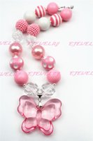 Wholesale acrylic butterfly beads - Pink Butterfly Girl necklace Pink&White Beads 20mm Beads Kids Necklace CB255