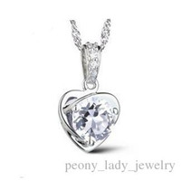 Wholesale Infinity Heart Pendant - 925 silver items crystal jewelry swarovski elements pendant statement necklaces rose heart vintage wedding infinity fashion