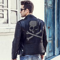 Wholesale Men Leather Down Jacket - Wholesale- 2016 Winter Leather Jacket Men Turn-down Collar Jaqueta De Couro Masculina PU Mens Leather Jackets Skull Punk Veste Cuir Homme
