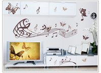 Wholesale Free Music Stickers - Free Shipping Butterfly music note Wall Art Vinyl Quote Removable Sticker decor decal DIY Kid home decor wall paper
