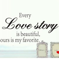 Wholesale Inspirational Vinyl Wall Decals - Every Love Story Wall Sticker Vinyl Quotes and Sayings Home Decoration Living Room Inspirational Wall Decals Quotes Art