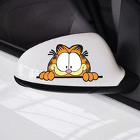 Wholesale Garfield Decals - Cute Car Stickers Garfield Cat Car Rearview Mirror Personalized Cartoon Animal Decoration Decals Funny Decal Sticker