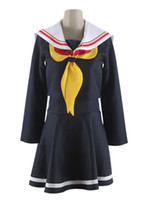 Wholesale Two Piece Halloween Costumes Women - 2014 NEW Free Shipping No Game No Life Cosplay Shiro costume two-piece suit black school uniform dress for party and halloween
