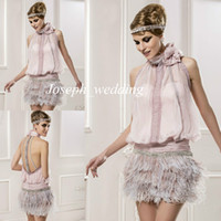 Wholesale Ladies Jackets Dresses - Real Sample Pictures free shipping Romatic Mini Short Lady Cocktail Dresses Halter Beaded Backless Pink Feather Exotic