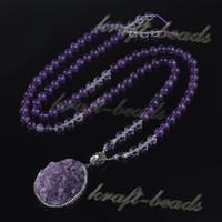Wholesale Amethyst Druzy Pendant Bead - Fashion Natural Amethyst Quartz Crystal Round Stone Beads Chain Druzy Amethyst Random Pendant Inlay Rhinestone Necklace Jewelry