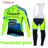 Wholesale mountain 3d - Fleece Thermal for winter Saxo bank cycling jersey sport suit mountain bike ropa ciclismo bicycle MTB bicicleta clothing 3D gel pad BIB