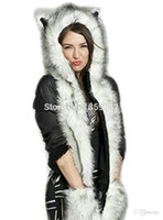 Wholesale Animal Ears Scarf - Wholesale-2015 Winter Husky Faux Fur Full Animal Hood Hoodie Hat 3-in-1 Mittens Gloves Scarf Spirit Paws Ears Christmas Gift