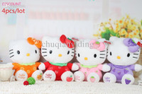 Wholesale Wholesale Discount Plush Toys - DISCOUNT 4Pcs Lot Hello Kitty Plush Cartoon Toys 20CM Stuffed Animals Brinquedos Cheap Toys For Kids Or Girls Galentine Day Gift