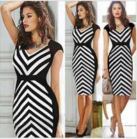 mulheres vestido cebra venda por atacado-Plus Size Zebra Bainha Listrada Com Decote Em V Mulheres Vestido de Festa Vestido de Trabalho Senhora Escritório Preto Branco Lápis Vestido Estilo Verão Até 2XL