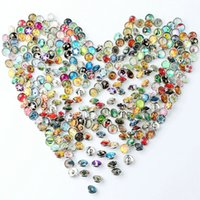 Wholesale 12mm Mix Glass Beads - JACK88 NEW 50pcs lot Mixed Many Styles Glass 12mm Snaps Button for Ginger Snap Button Fit Leather Charm Bracelet Jewelry M033