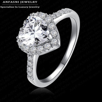 Wholesale-Love Style Sincere Heart Ring Real 18K Gold / Platinum plaqué Micro Pavé Clear AAA Cubic Zirconia Promise Ring CRI0004