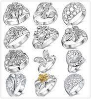 кольца новые конструкции оптовых-Смешанный стиль стерлингового серебра 925 цветок палец кольцо ювелирные изделия новый дизайн Рождественский подарок для женщин Бесплатная доставка