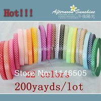 """Wholesale Wholesale Satin Labels - FREE SHIPPING,200 yards 3 8""""(10mm), Lovely 22 colors printed color label with Dot DIY Ribbons Satin Ribbons Decoration Craft"""