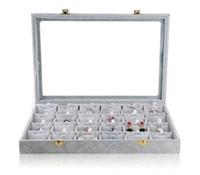 Wholesale jewelry display gray velvet - silver gray velvet 24 grids jewelry display case with glass cover for pendant