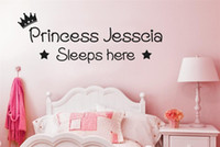 Wholesale Wall Art For Childrens Room - Personalised Prince or Princess Sleeps here Vinyl Wall Stickers Decals Art kids childrens Room Decor