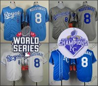 Wholesale Royal Exclusive - 8 Mike Moustakas Jersey Kansas City Royals Exclusive Vintage Jersey 2015 Cool Base 1974 1985 Back Clock Jersey