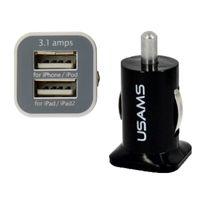 plug chargeur pour voiture achat en gros de-100pcs USAMS 3.1A Double USB Chargeur De Voiture 2 Port 5V 3100mah Double Prise Chargeurs De Voiture Adaptateur pour HTC