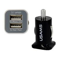 портативное зарядное устройство оптовых-USAMS 3.1A Dual USB Автомобильное 2-портовое зарядное устройство 5 В 3100 мАч с двумя разъемами автомобильные зарядные устройства адаптер для HTC